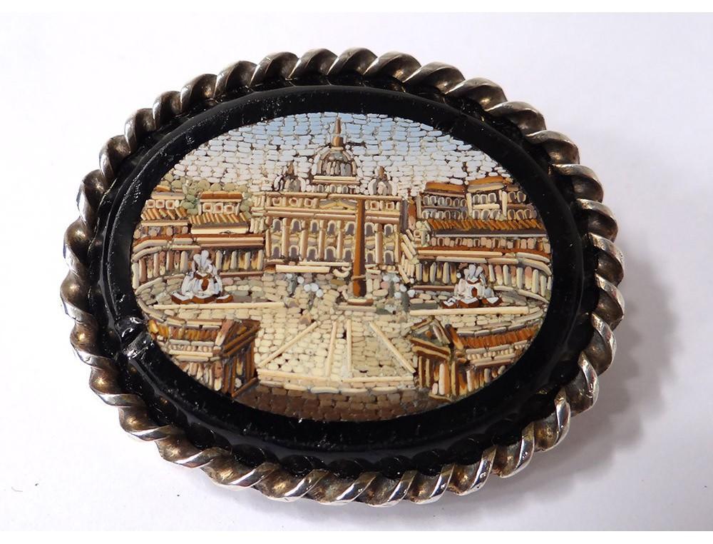 Micro Mosaic Brooch St Peter Vatican Rome Grand Tour
