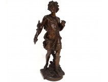young man bronze sculpture palm branches signed Moreau nineteenth century