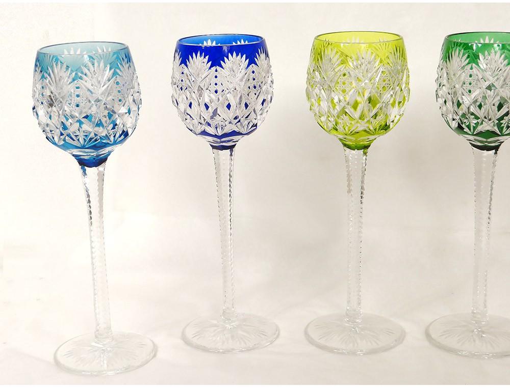 6 Verres Vin Rhin Roemers Cristal Saint Louis Couleur