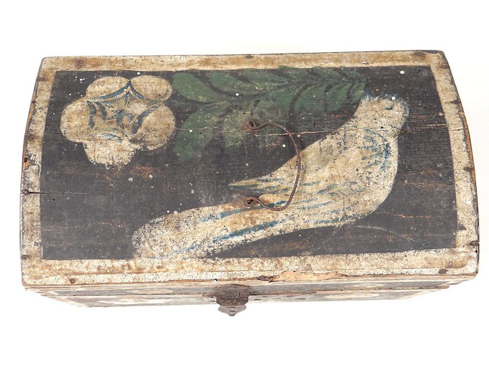 Petit coffret normand bois polychrome oiseau fleurs  ~ Petit Coffret Bois