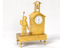 Clock gilt bronze cherub pilgrim chapel steeple clock Empire XIX
