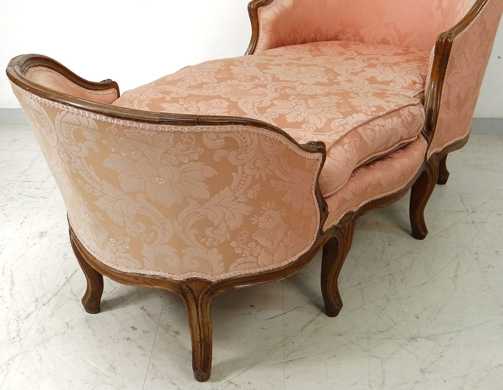 chaise longue louis xv duchess walnut carved boat in. Black Bedroom Furniture Sets. Home Design Ideas
