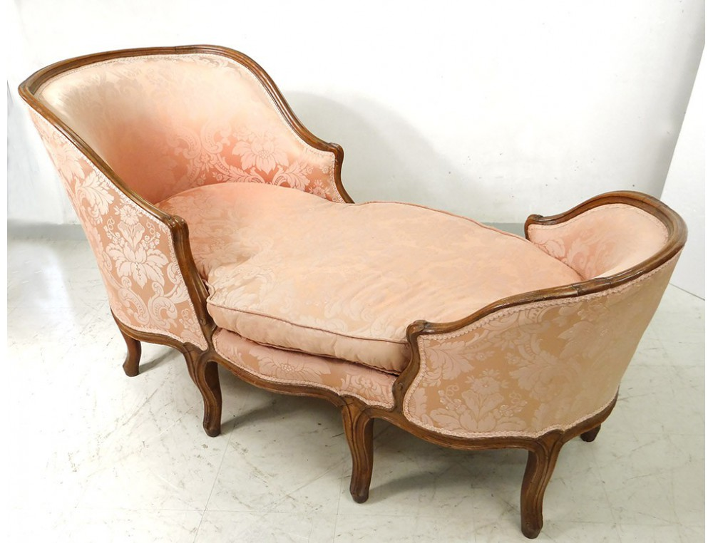 chaise longue louis xv duchesse en bateau noyer sculpt. Black Bedroom Furniture Sets. Home Design Ideas