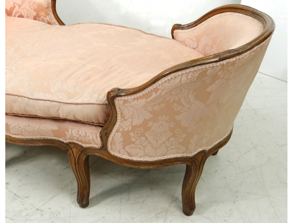 Chaise longue louis xv duchesse en bateau noyer sculpt for Chaise 19eme siecle