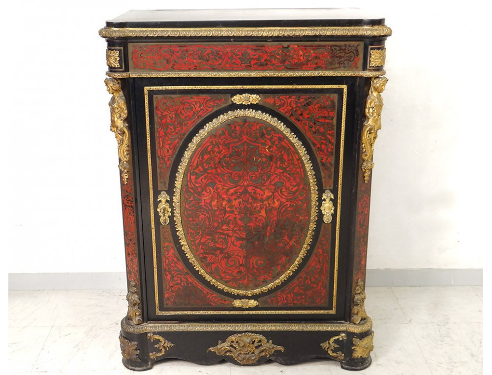 Boulle Marquetry Furniture Bearing Bronze Gilded Caryatids