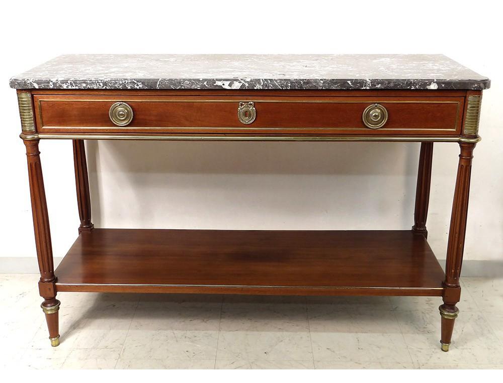 Console Louis XVI mahogany gray marble Sainte-Anne eighteenth ...