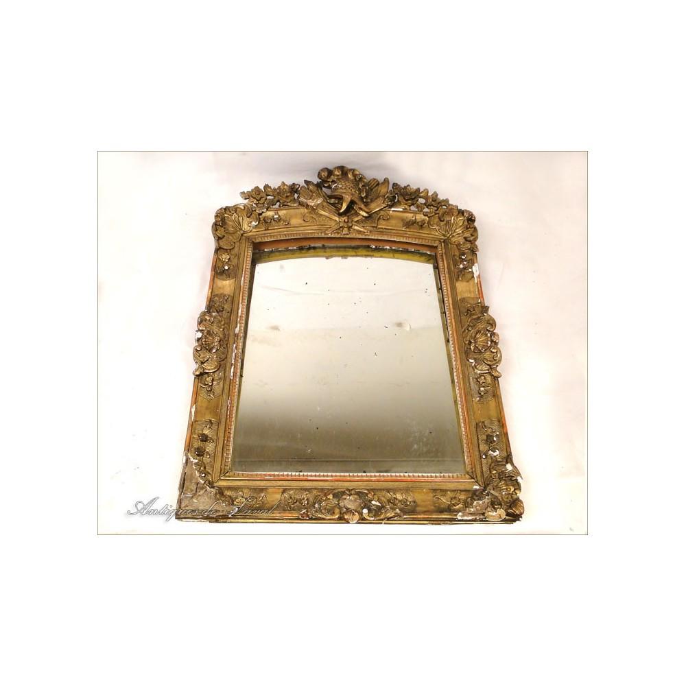 Miroir louis xv en bois sculpt dor 18e ebay for Miroir louis xv