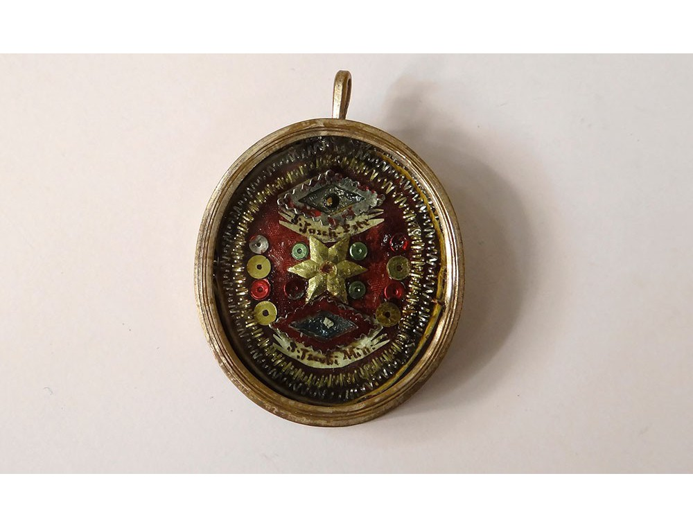 Reliquary pendant oval medallion st jacob silver metal reliquary loading zoom mozeypictures Images