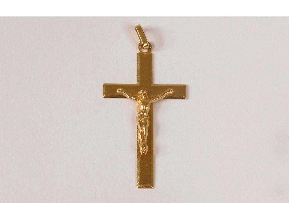 Croix Pendentif Or Massif 18 Carats Christ Crucifix