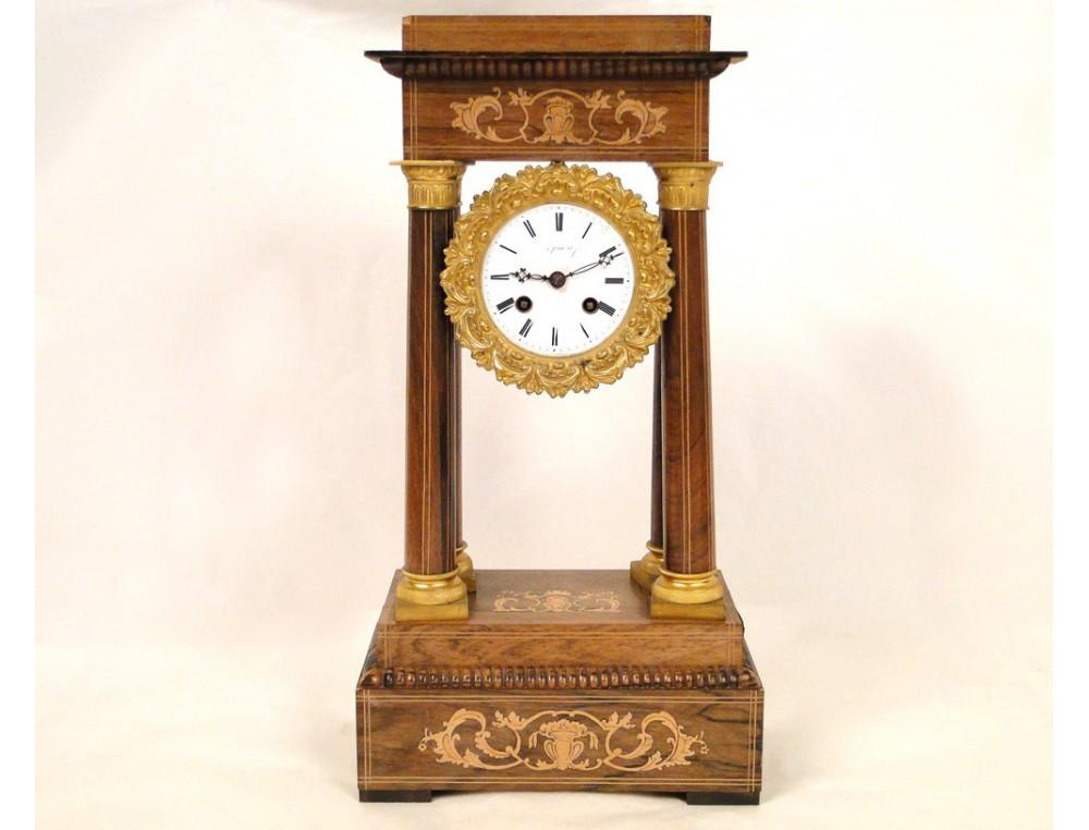 Clock Charles X Bronze Columns 19th