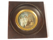 Miniature hand painted scene naughty frame blackened nineteenth century