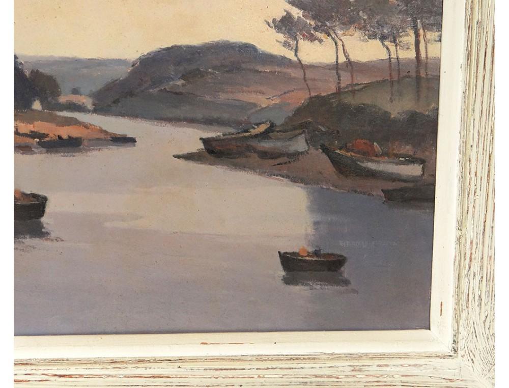 hst tableau paysage bateaux ulysse gorrin tiquette de. Black Bedroom Furniture Sets. Home Design Ideas