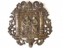 bas-relief bronze plaque St. Anne Virgin Child Jesus Italy XVII