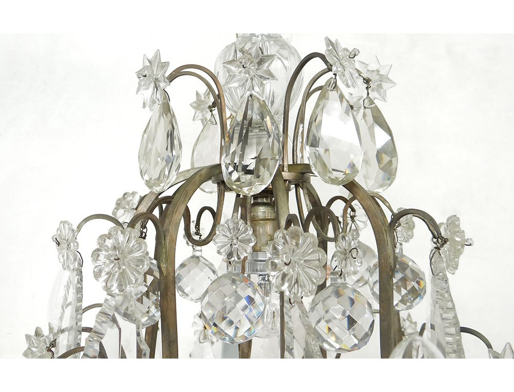 lustre cristal taill 8 feux fer forg pampilles toiles fin xix me si cle