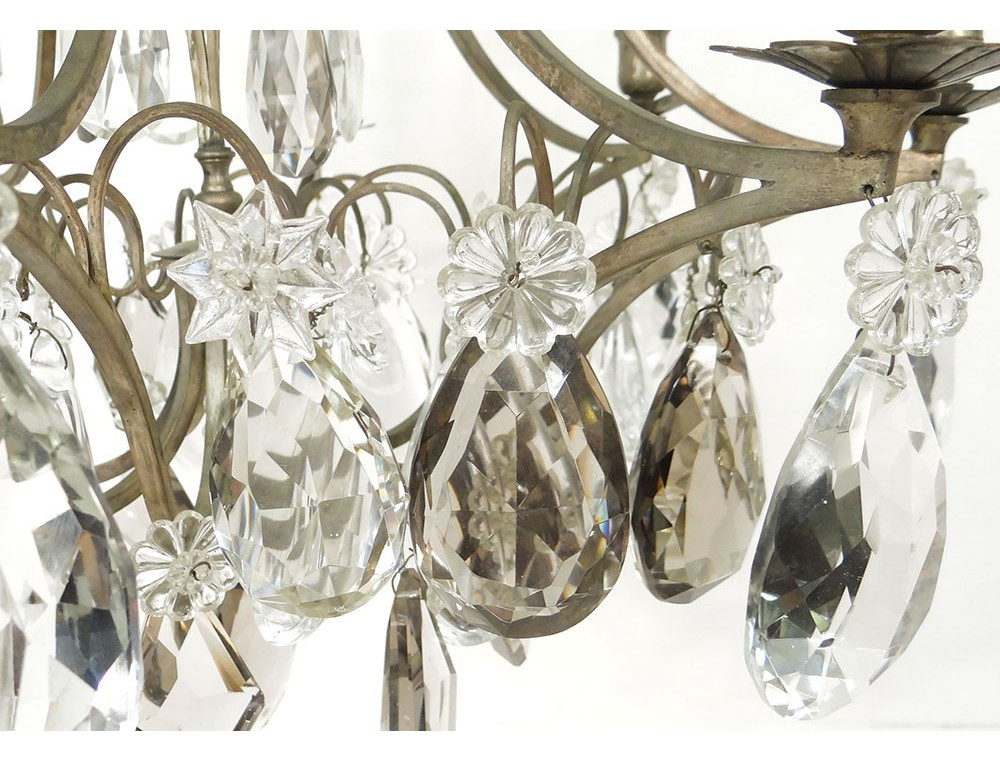 lustre cristal taill 233 8 feux fer forg 233 pilles 233 toiles fin xix 232 me si 232 cle