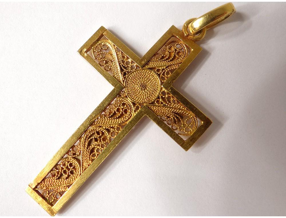 Cross pendant solid gold 18 carat gold filigree cross 897gr cross pendant solid gold 18 carat gold filigree cross 897gr twentieth century aloadofball Image collections