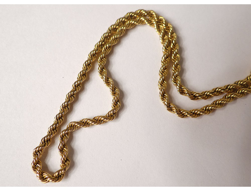 gold chain necklace twisted solid 18K gold necklace 8,84gr ...