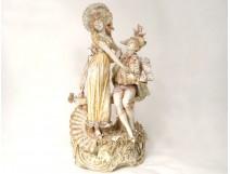 porcelain sculpture E. Stellmacher torque gallant Amphora Art Nouveau XIXth