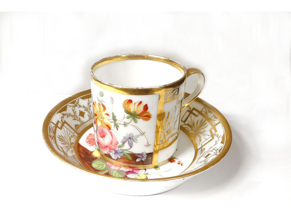 tasse soucoupe porcelaine paris fleurs style louis xvi napol on iii xix me. Black Bedroom Furniture Sets. Home Design Ideas