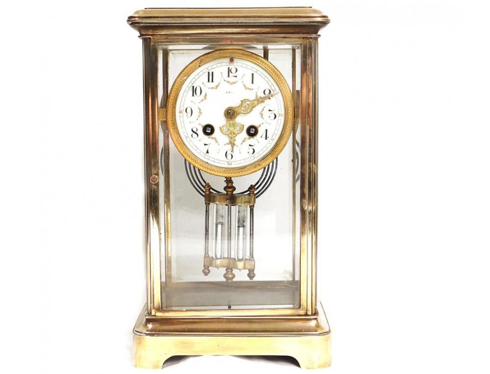 Pendule Bronze Dor 233 Ad Mougin Deux M 233 Dailles Fleurs Clock