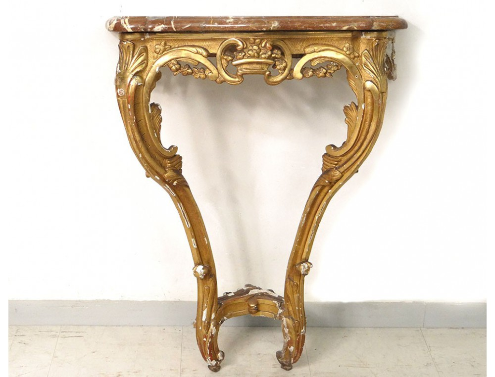 console bois sculpt dor marbre rouge fleurs louis xv r gence xviii me. Black Bedroom Furniture Sets. Home Design Ideas