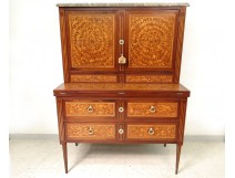Office Secretary Louis XVI marquetry flowers stave eighteenth marble