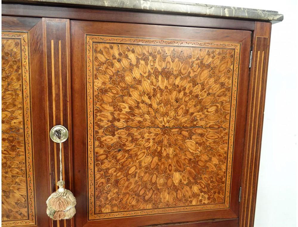 bureau secr taire louis xvi marqueterie fleurs bois debout marbre xviii me. Black Bedroom Furniture Sets. Home Design Ideas