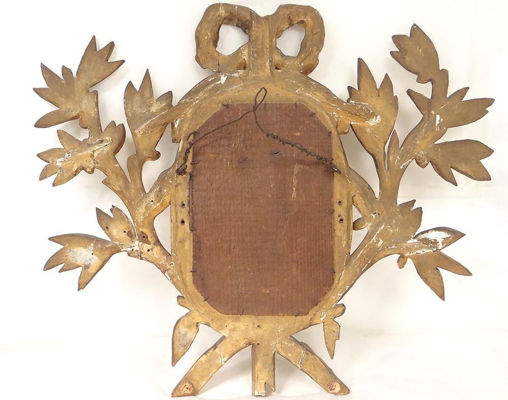 Miroir louis xvi bois sculpt dor stuqu noeud guirlandes for Miroir louis 16