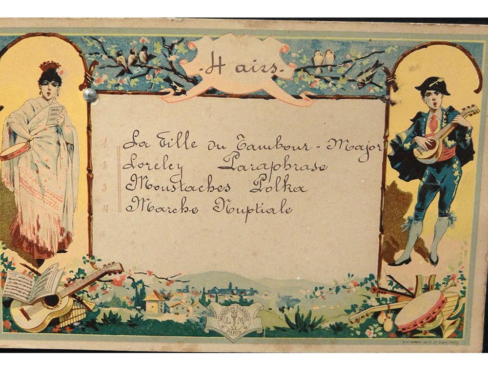 Boîte à musique bois peint marqueterie 4 airs fleurs  ~ Boite Musique Bois