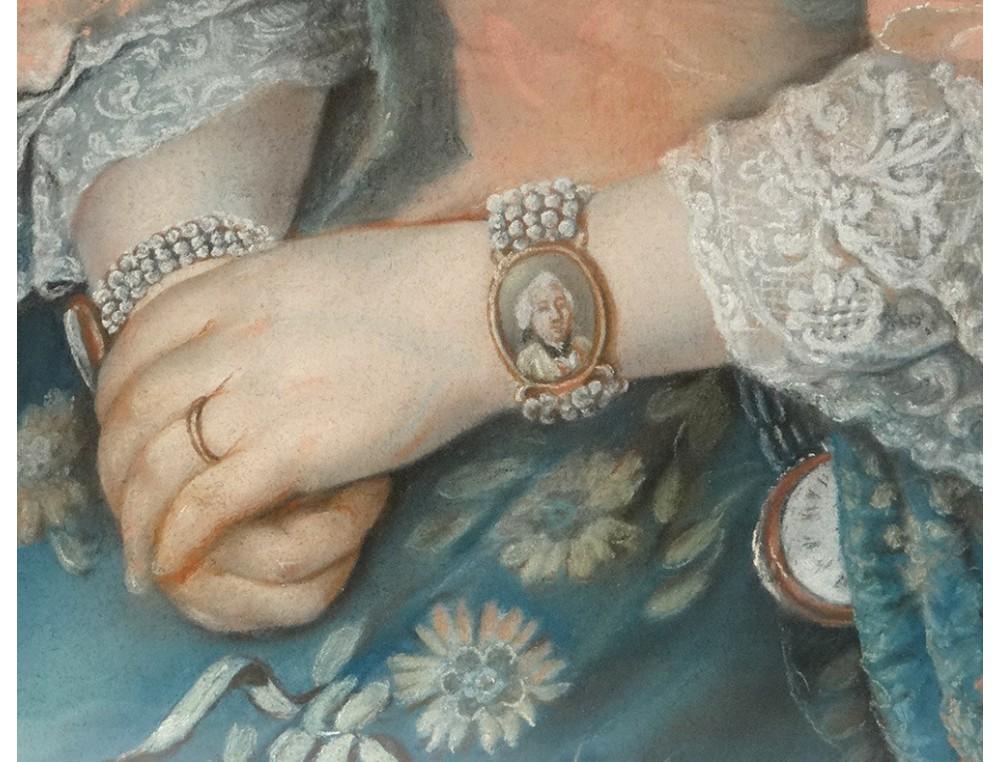 Pastel portrait femme bracelet miniature fleurs Martin cadre sculpté XVIIIè