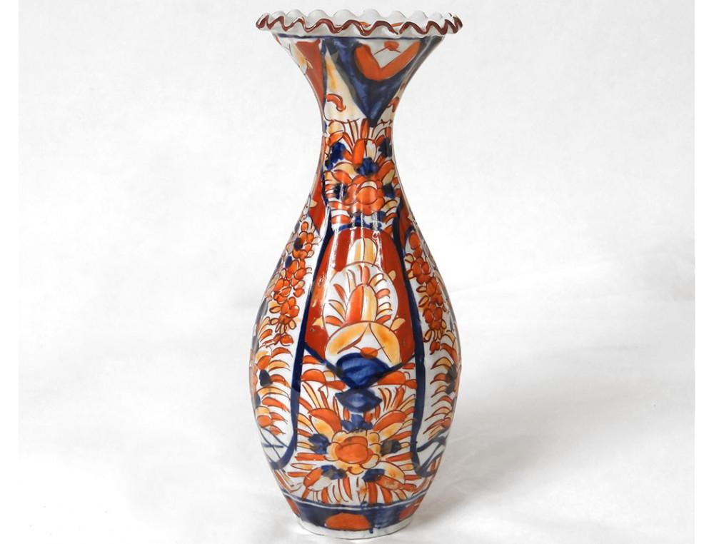vase imari porcelaine japon fleurs feuillage xix me si cle. Black Bedroom Furniture Sets. Home Design Ideas