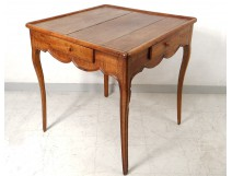Cabaret Table Louis XV antique carved cherry game table french XVIII