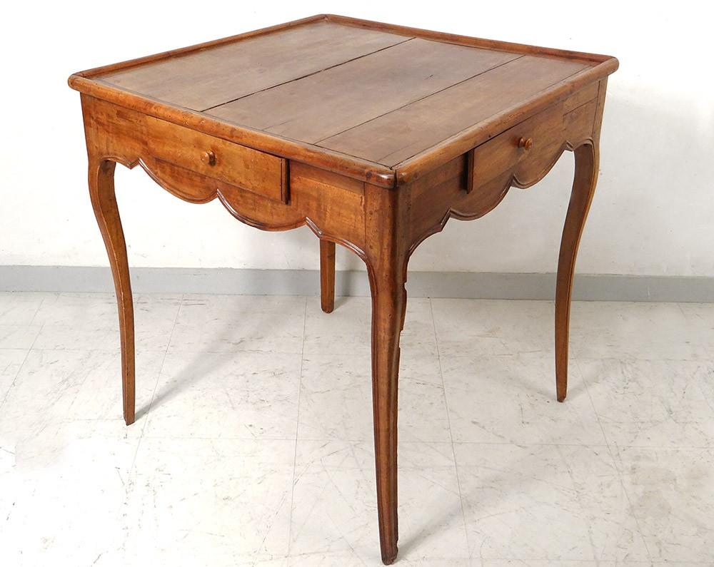 Table cabaret Louis XV à jeu merisier sculpté antique french table ...