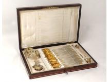 coffee tea spoons silver gilt Service Devaux Minerva Napoleon III XIXth