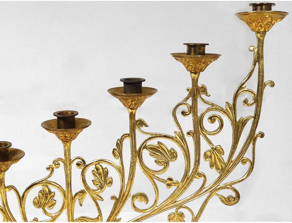 Candelabra chandelier church altar 7 gilded bronze garland