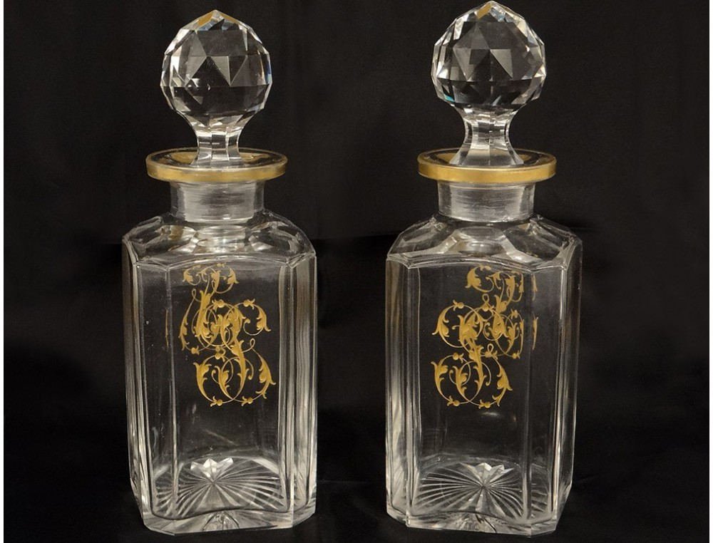 Crystal Liquor Decanters Pair Carved Gilt Monogram
