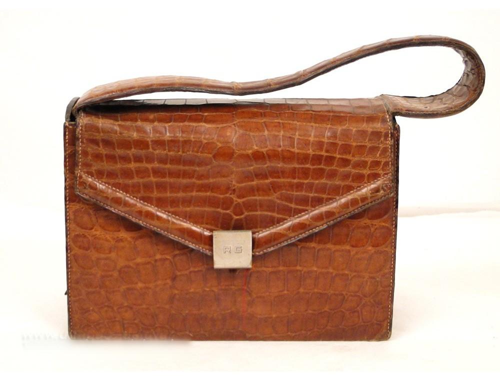 Sac Hermès en cuir crocodile véritable, Vintage, 20e