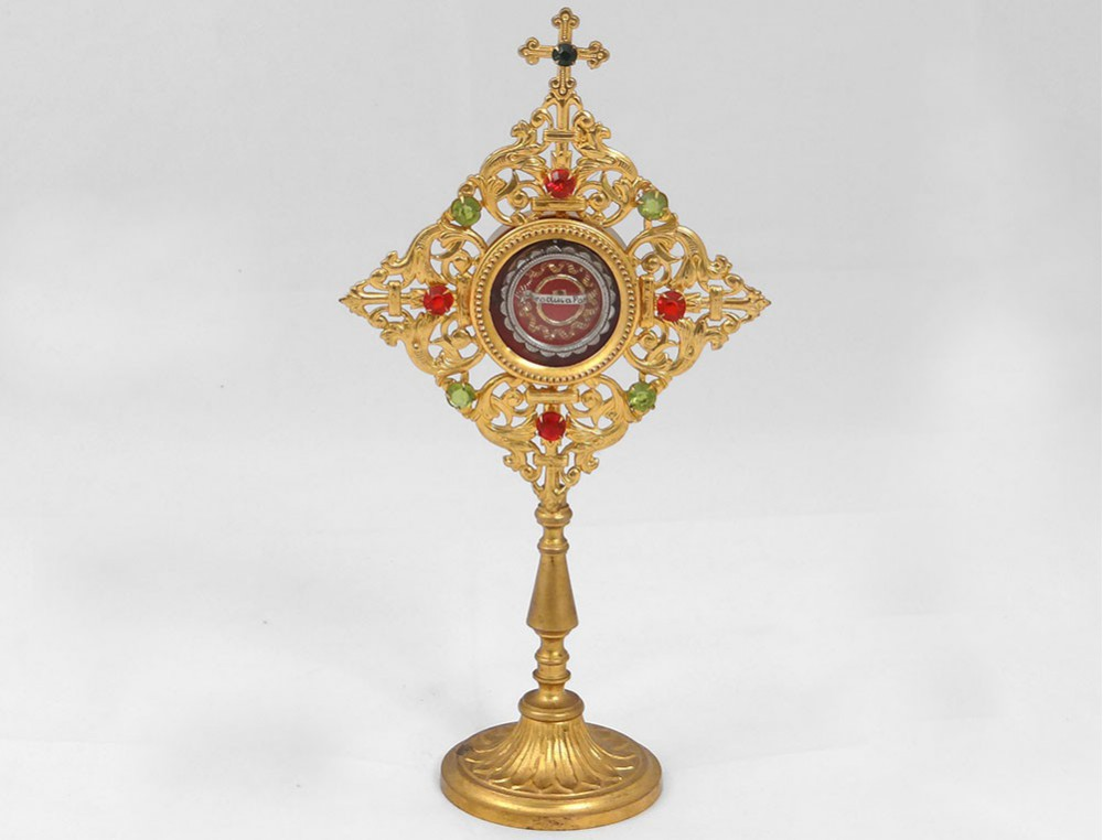 daff308fae45 View full size. Previous. Reliquary monstrance golden brass rhinestone ...