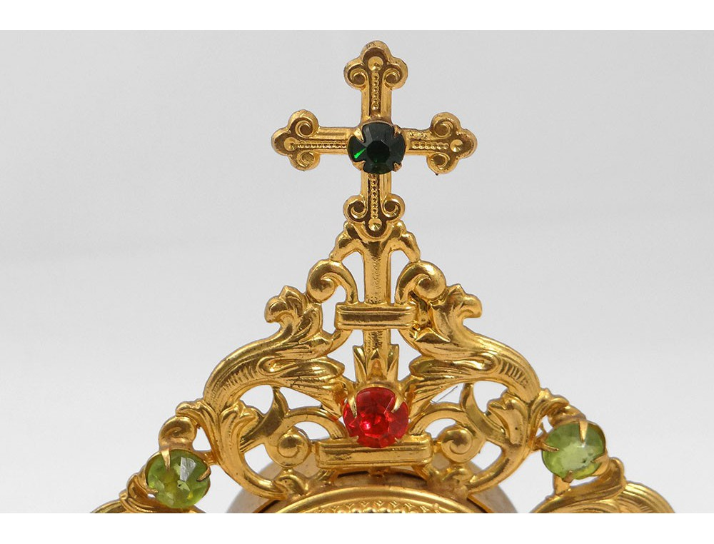 99816d6faabf Reliquary monstrance golden brass rhinestone Saint Conrad of Parzham cross  nineteenth