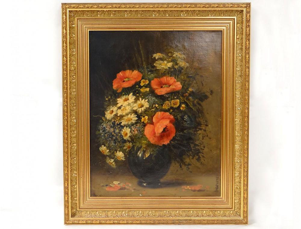 Hst Table Still Life Bouquet Flower Vase Gérard Frame Gilded