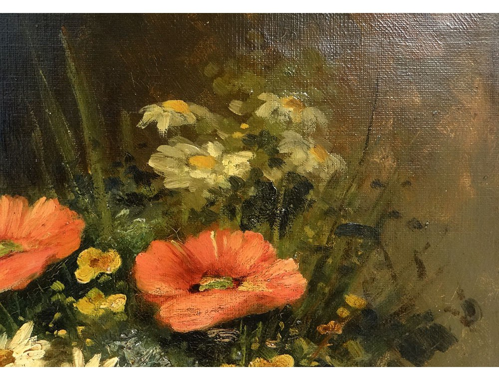 Hst Table Still Life Bouquet Flower Vase G 233 Rard Frame Gilded Painting 19th