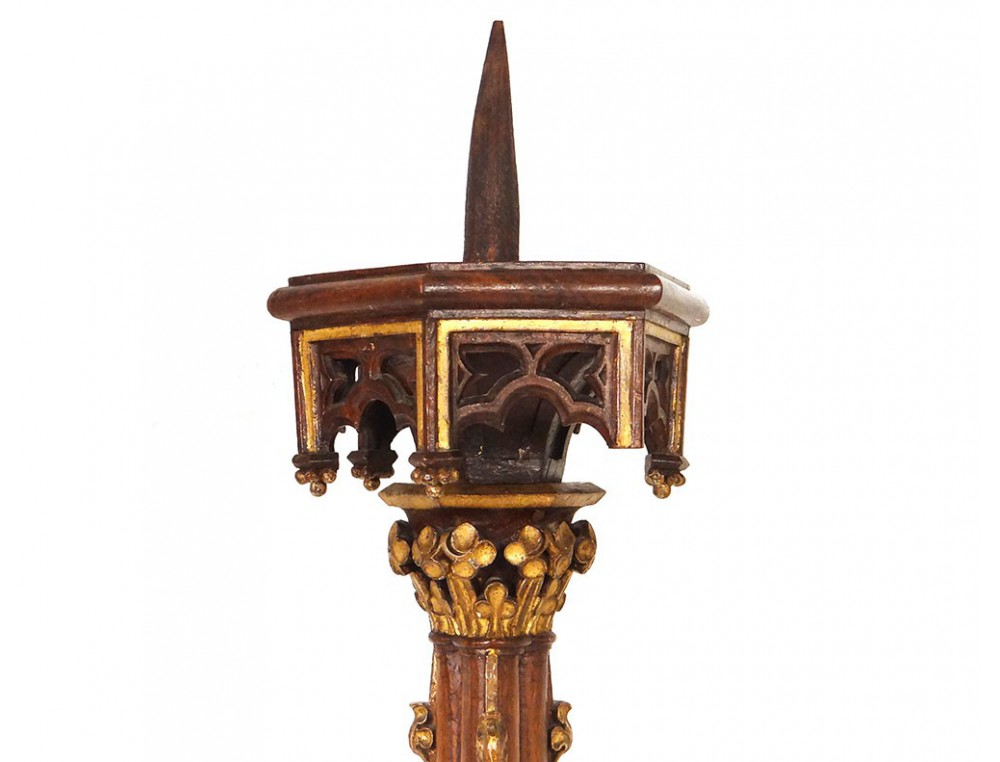 Gothic Picnic Candle Candlestick Carved Walnut Napoleon