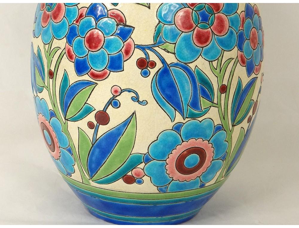 Ceramic Vase Boch Fr 232 Res Keramis Belgium Catteau Flowers