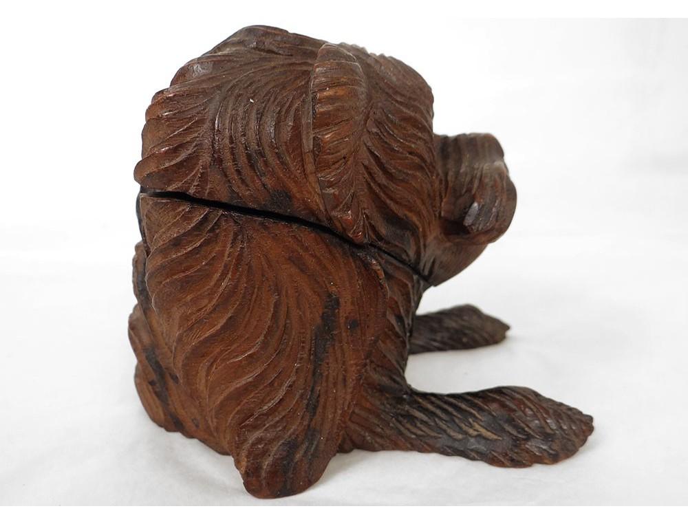 Encrier sculpté Black Forest tête de chien yeux sulfure ...