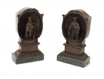 Pair bronze sculptures characters Renaissance alcove nineteenth browsers