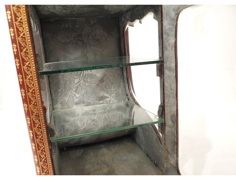 Petite vitrine chaise porteur cuir dor au fer fleurs for Petite chaise en osier