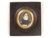 painted miniature portrait young woman Lace signed Laure nineteenth century