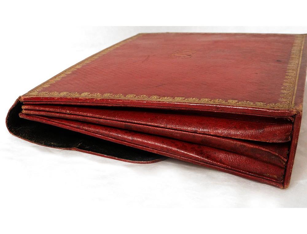 porte documents sacoche cuir maroquin rouge dor au fer. Black Bedroom Furniture Sets. Home Design Ideas
