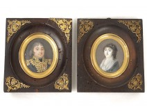 miniature pair painted portraits General Louis-XVIII Varé wife