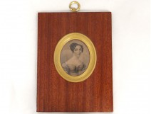 Miniature portrait pencil drawing young romantic nineteenth wood woman